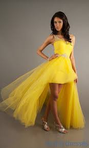 yellow prom dresses high low dress on sale