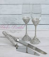 swarovski crystal wedding toast set champagne glasses
