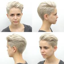 women u0027s platinum blonde pixie with long top fringe styled in a quiff