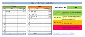 Money Spreadsheet Debt To Income Ratio Calculator Excel Templates