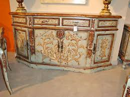 olde world peruvian credenza buffet sideboard handpainted blue