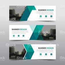 layout banner template green abstract triangle corporate business banner template