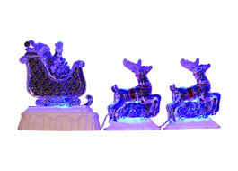 Lighted Sleigh And Reindeer by 3 Piece Set Icy Crystal Led Lighted Reindeer And Santa On A Sled