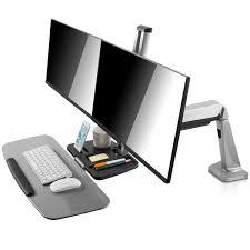si e assis debout v7 poste de travail assis debout 2 écrans bras pied v7 sur