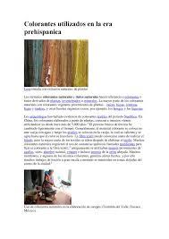 calaméo colorantes utilizados en la era prehispanica