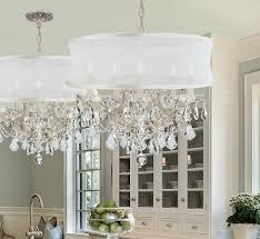 creative of drum chandelier with crystals modern burlap shade