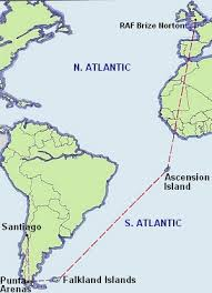 ascension islands map air travel to the falkland islands