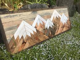 mountain wall wood five rustic wood mountains wall small