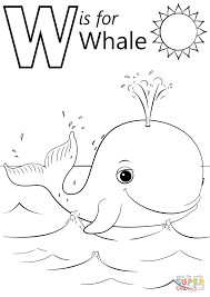 w is for whale coloring page free printable coloring pages