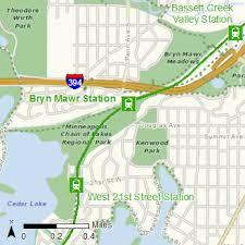 Light Rail Map Minneapolis Bryn Mawr Station Metropolitan Council