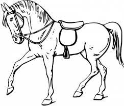 Coloriage gratuit dun cheval sellé au pas  1coloriagecom