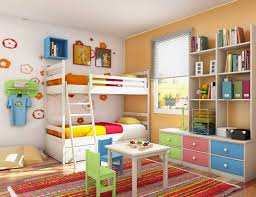 colorful kids bedroom storage ideas with white bunk beds home