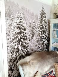 christmas snowy trees self adhesive wallpaper by oakdene designs