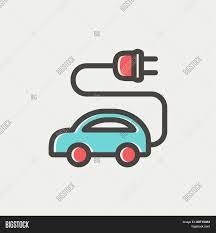 electric car icon thin line web vector u0026 photo bigstock