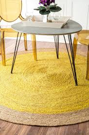 yellow rug under dining table yellow rug joyful color for