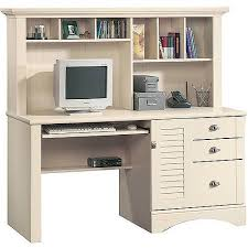 White Computer Desk With Hutch Sauder Harbor View Computer Desk With Hutch Antiqued White