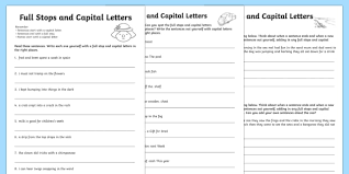 capital letters and full stops practice sheet capital letters