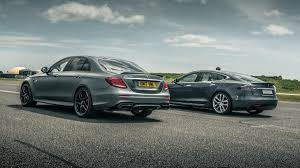 top gear mercedes e63 amg top gear on tesla s barnstorming electric saloon takes