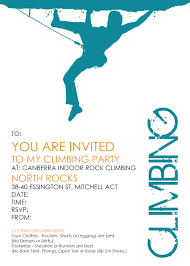 canberra indoor rock climbing party invites