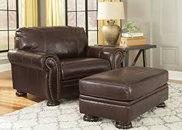 leather chair and a half with ottoman amazon com banner coffee color traditional classics high quality