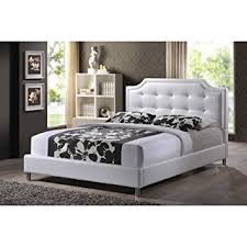 amazon com baxton studio carlotta modern bed with upholstered
