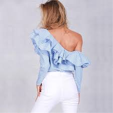 ruffle blouses shoulder ruffle blouses and shirts blue striped