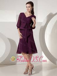 dark purple empire v neck knee length mother of the bride dress