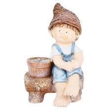 boy sitting on bench pot planter planters made or resin for