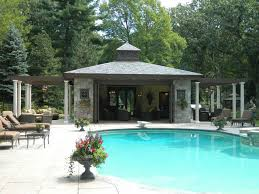 Pool House Plans Ideas Pool Houses With Garden Behind The House With Dense Trees House