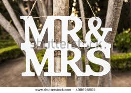 Mr And Mrs Wedding Signs Mr Mrs White Wedding Letters Hanging Stock Photo 498698905