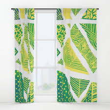Teal And Yellow Curtains Aquarelle Window Curtains Society6