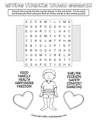 giving thanks word search free printable learning activities for
