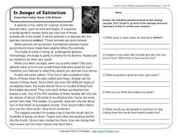 in danger of extinction 3rd grade reading comprehension worksheet