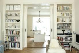 bookshelves in dining room built in room divider ideas living room traditional living room