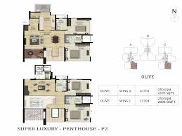 Park West Floor Plan by Olive Penthouses In Bangalore Shapoorji Pallonji Parkwest