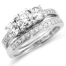 engagement and wedding ring sets 14k white gold three diamond wedding ring set