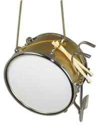 miniature gold bass drum ornament 3 x 2