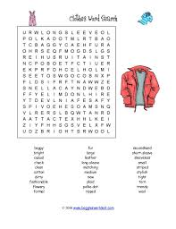 word search clothing adjectives