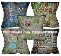 5pc green patchwork dining chair cushions boho embroidered sofa pillow