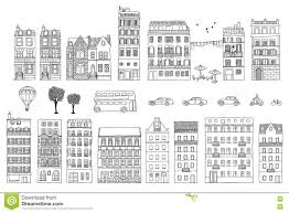 collection of hand drawn european style houses stock vector