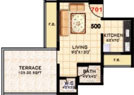 500 sq ft 1 bhk 1t apartment for sale in kd group kalash karanjade
