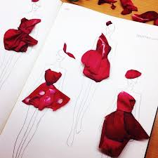 Real Rose Petals Stunning Fashion Designs Sketched By Real Flower Petals