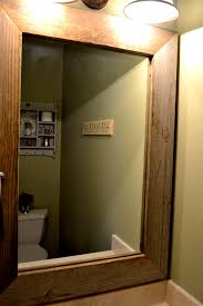 Wooden Bathroom Mirrors Upgrading A Contractor Mirror With Wood From A Barn