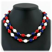 double strand beaded necklace images Crown trifari patriotic necklace red white blue beads double jpg
