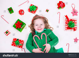 child opening christmas presents little stock photo 300217730