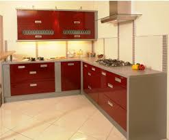 Indian Kitchen Interiors by Wonderful Red Indian Kitchen Cabinets Design Ideas With Shiny Base