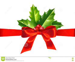White Bow Christmas Decorations by Red Silky Ribbon With Bow And Holly Leaves Vector Christmas
