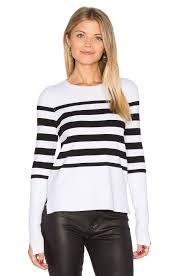 Autumn Cashmere Rib Drape Cardigan Autumn Cashmere Jacket Autumn Cashmere Hi Lo Stripe Sweater White