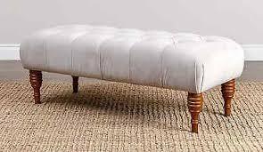 white ottoman bench seat velvet tufted cocktail bedroom living