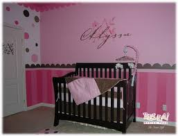 modest pink baby bedroom ideas with cute tree walls painted